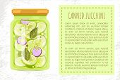 Canned Zucchini Poster With Text In Block. Preserved Food In Jar Onion Slices Dill And Leaves For Un poster