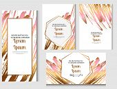 Wedding Invitation Frame Set. Roze Gold Abstract Animal Skin Pattern. Watercolor Stripes  Background poster