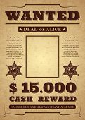 Wanted Poster. Old Distressed Western Criminal Background. Dead Or Alive Wanted Vector Template poster