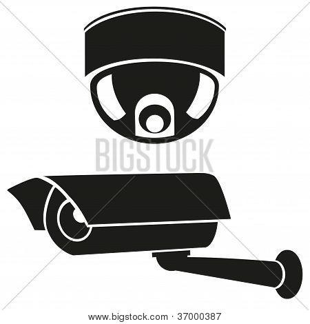 Black And White Icons Of Surveillance Cameras
