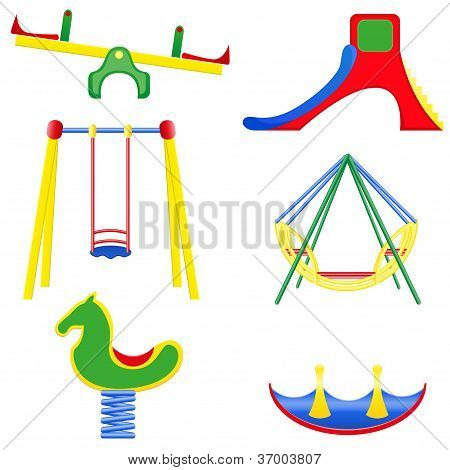 Icons Children Teeter Vector Illustration