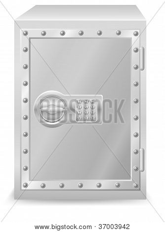 Safe With Electronic Combination Lock Vector Illustration