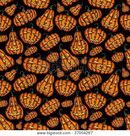 Halloween Pumpkins vector seamless pattern