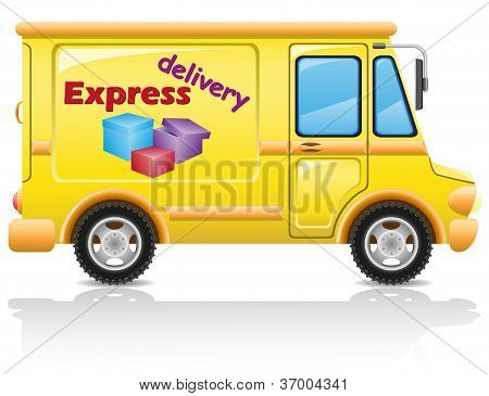 Car Express Delivery Of Mail And Parcels Vector Illustration