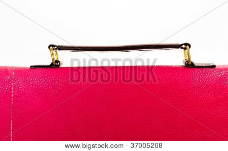 Red Women Handbag Leather With Handles On White Background