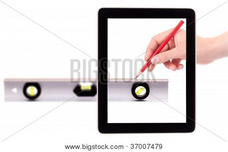 Hand Drawing Red Line Using A Spirit Level