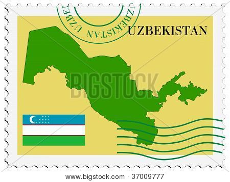 stamp with map and flag of Uzbekistan