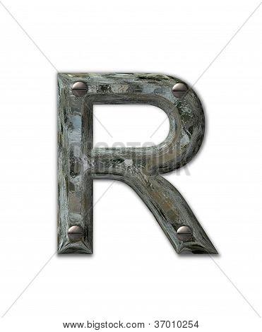 Alphabet Metal Grunge R