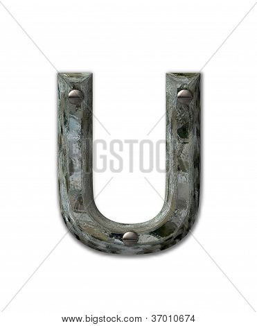 Alphabet Metal Grunge U