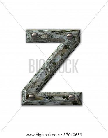 Alphabet Metal Grunge Z
