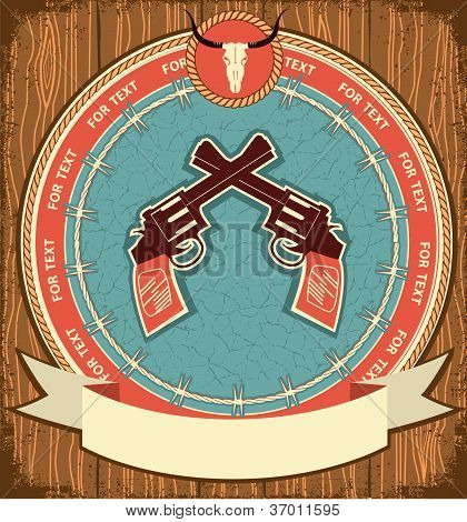 Western Symbol Background On Wood Texture