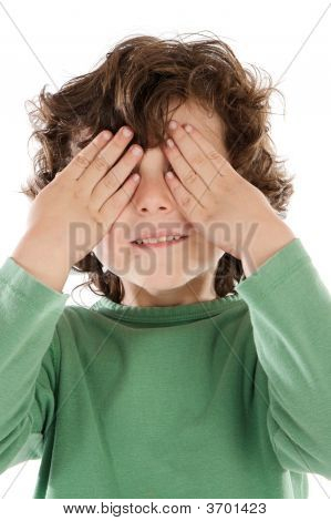 Boy With His Hands Covering The Eyes