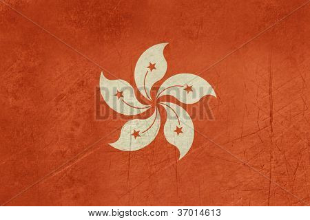 Grunge sovereign state flag of dependent country of Hong Kong in official colors.