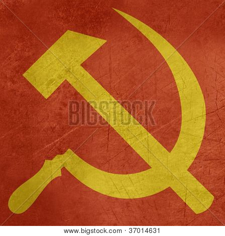 Grunge Russian or Communist hammer and sickle sign or flag.