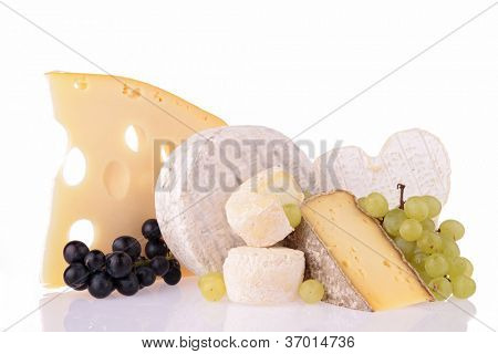 assortment of cheese isolated on white