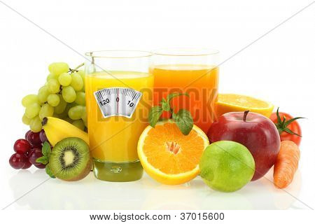 Diet and healthy eating. Fruits, vegetables and juice on white