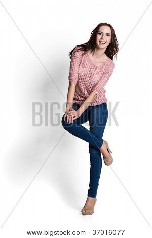 Fashion model wearing pink sweater with emotions