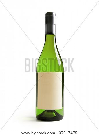 White wine bottle, with real paper blank label. Label is at eye level so  inserted elemets do not need to be curved (wrapped around) so much. Focus  on label. Isolated on white.