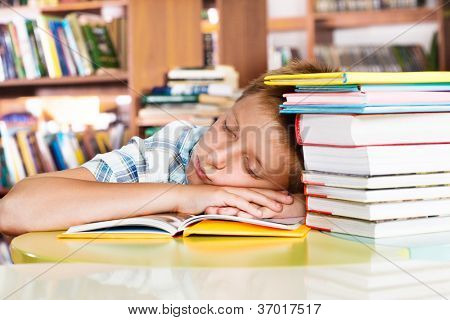Tired primary school student sleeping in a library