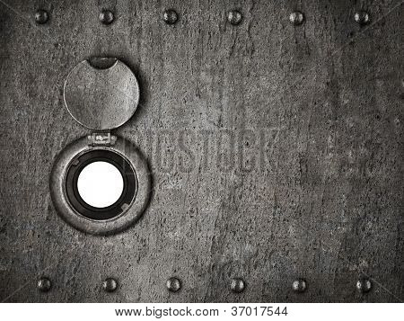 peep hole in grunge metal armored door