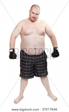 Angry man with boxing gloves.