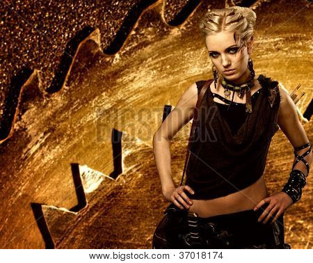 Woman against an abstract metal background