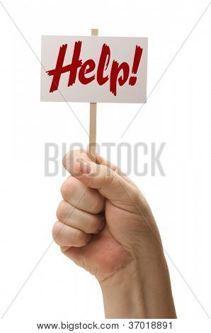 Help Sign In Fist Isolated On A White Background.