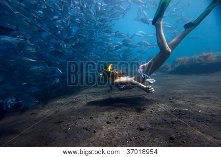 Young woman fining over bottom by school of a Jack Fish on a breath hold