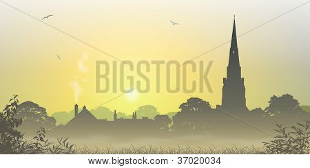 A Misty Country Landscape with Church Spire and Trees