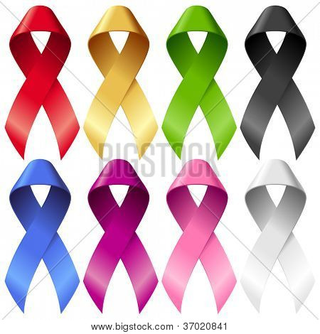 Vector breast ribbons set. Red, yellow, green, blue, purple, pink and black bands isolated on white background