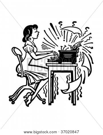 Woman Typing Madly - Retro Clipart Illustration