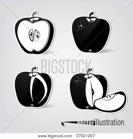 Set of vector apple