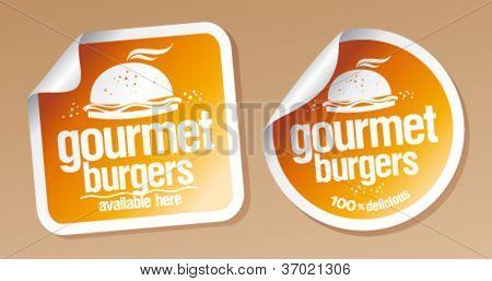 Conjunto de adesivos de hambúrgueres gourmet.