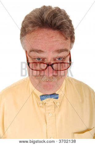 Smiling Man With Glasses And A Tiny Bowtie.