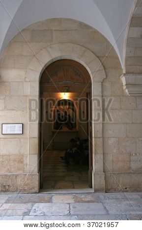 JERUSALEM - OCTOBER 03: Via Dolorosa, 2nd Stations of the Cross. The pilgrims who visit the Holy Land, pass the path that Jesus carried the cross to Calvary. Jerusalem on October 03, 2006.