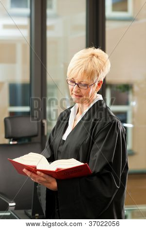 Female lawyer with German civil law code in a court room