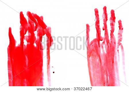 Bloody print of a hand and fingers on white wall
