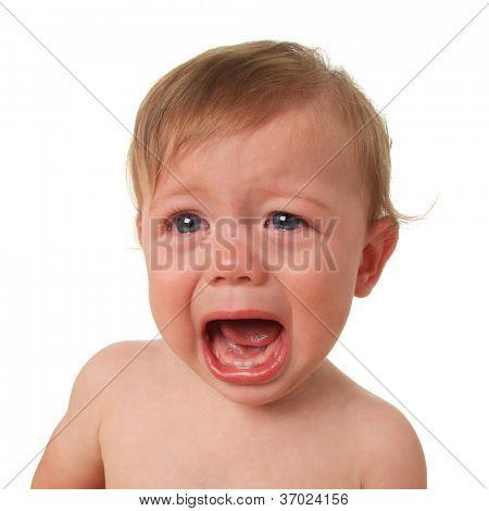 Crying baby boy, studio isolated on white.