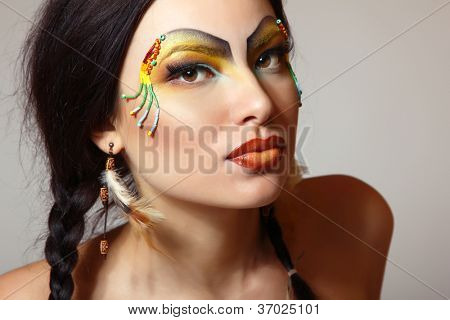 Beautiful young woman native American Indian, isolated