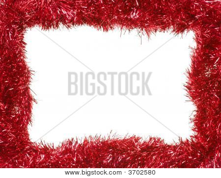 Red Christmas Garland, Rectangular Frame, Isolated On White