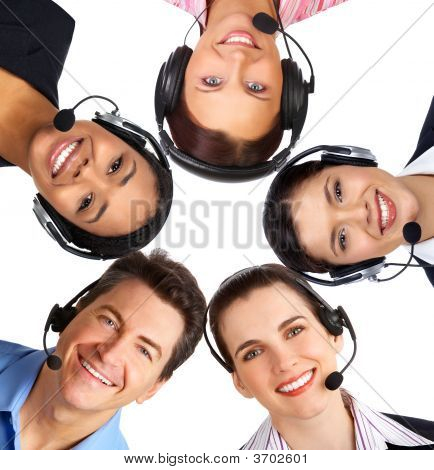 Business People  With Headsets