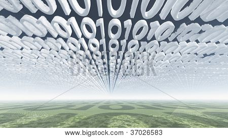 Binary code clouds