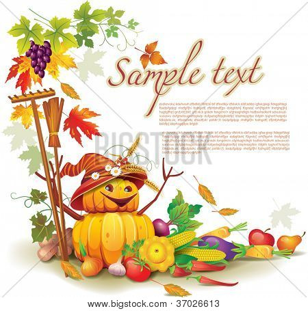 Template on a theme on the autumn harvest