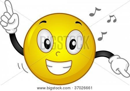 Illustration of a Grinning Smiley Dancing to Music