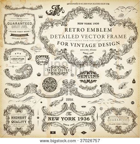 Vector set of calligraphic design elements: page decoration, Premium Quality and Satisfaction Guarantee Label, antique and baroque frames and floral ornaments | Old paper texture with grunge frames.