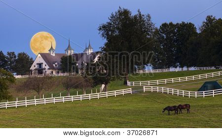 Moonrise over horse farm