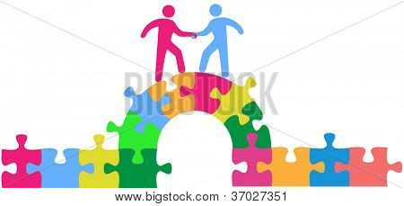Two people team up climbing bridge to join in a merger make a deal or collaborate