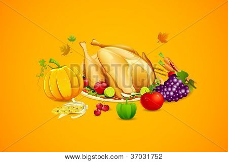 illustration of fruits and vegetable with roasted turkey for thanksgiving