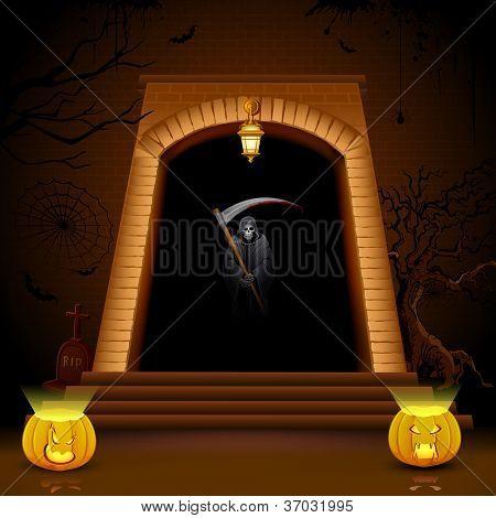 illustration of grim holding sword on hell gate