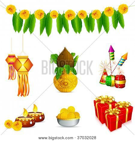 illustration of holy object and decoration for Indian festival